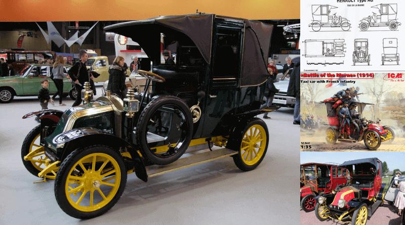 Renault AG1 Taxi 1912 model fotoğrafı. Taxi de la Marne olarak da bilinir.